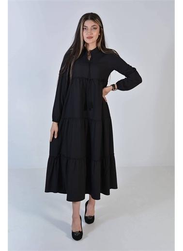 Zeren Kadın Siyah Yakası Bağlamalı Elbise Siyah